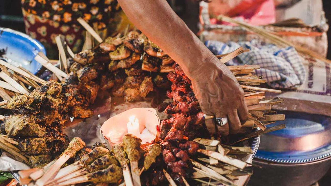 Satay skewers on a Balinese night market