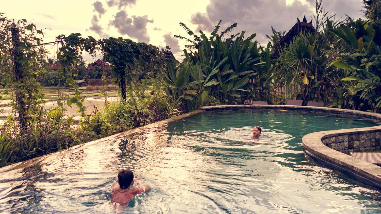 Salt water pool in Ubud retreat Bali