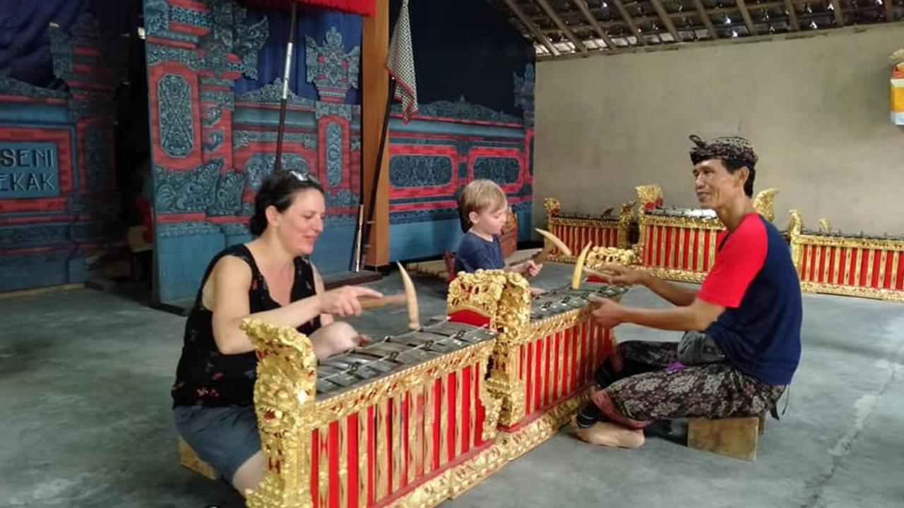 Participants in a Gamelan instruments workshop in Ubud