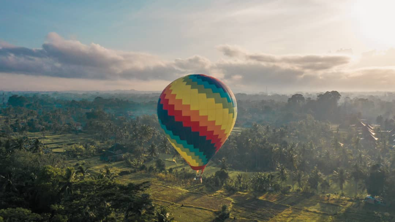 Hot air balloon over Ubud, Bali